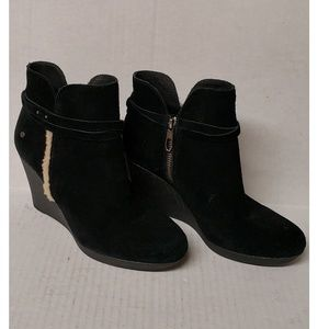 UGG Alexander Black Suede Wedge Ankle Boots